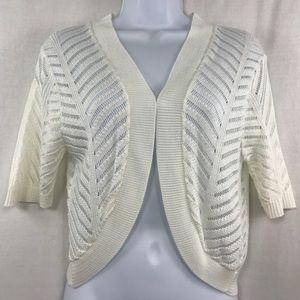 White Open Knit Bolero